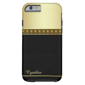 魅力的で黒く、ゴールド・トーンのiPhone 6の箱 ケース