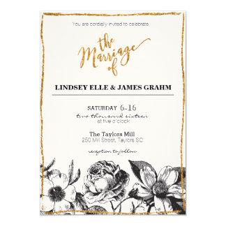魅力的なグリッターの白黒花の結婚式の招待 カード