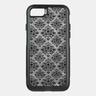 魅力的なゴシックの小型スカルのダマスク織パターン黒の灰色 オッターボックスコミューターiPhone 8/7ケース