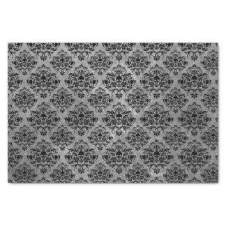 魅力的なゴシックの小型スカルのダマスク織パターン黒の灰色 薄葉紙