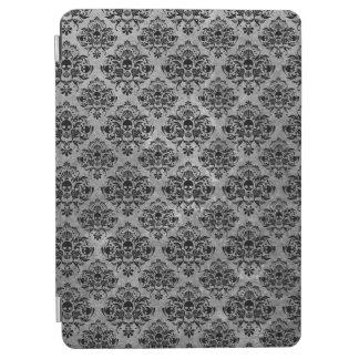 魅力的なゴシックの小型スカルのダマスク織パターン黒の灰色 iPad PROカバー