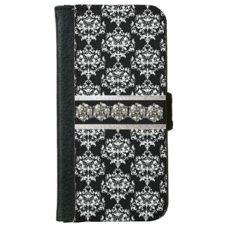 魅力的なダマスク織およびダイヤモンドのiPhone 6のウォレットケース iPhone 6/6s ウォレットケース