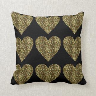 魅力的なハートの青銅色の正方形の装飾用クッション クッション