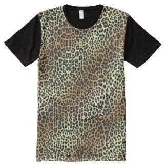 魅力的なヒョウのプリントおよび金ゴールドホイル オールオーバープリントT シャツ