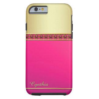 魅力的なピンクおよびゴールド・トーンのiPhone 6の場合 ケース