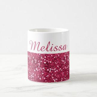 魅力的なピンクのグリッターの名前をカスタムする コーヒーマグカップ