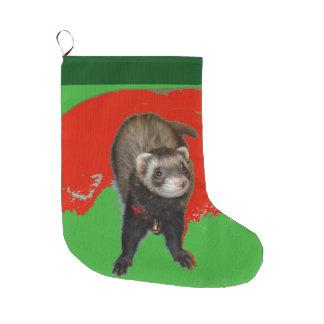 魅力的なメリークリスマスのフェレットのストッキング ラージクリスマスストッキング
