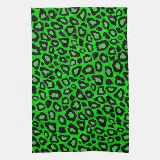 魅力的なライムグリーンのヒョウのアニマルプリント キッチンタオル