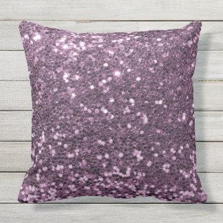 魅力的なラベンダーの紫色の模造のなグリッターのプリント クッション