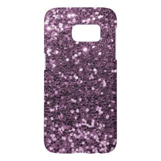 魅力的なラベンダーの紫色の模造のなグリッターのプリント SAMSUNG GALAXY S7 ケース