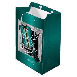 魅力的なランジェリーのブライダルシャワー|のティール(緑がかった色) ミディアムペーパーバッグ
