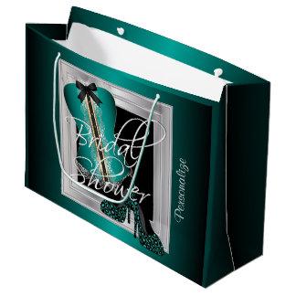 魅力的なランジェリーのブライダルシャワー|のティール(緑がかった色) ラージペーパーバッグ