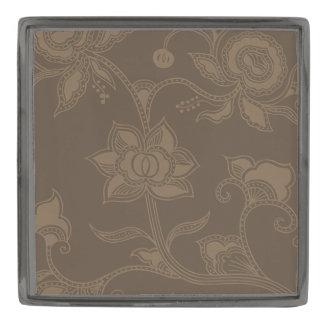 魅力的なヴィンテージの花のエレガントなコーヒーブラウン ガンメタル ラペルピン