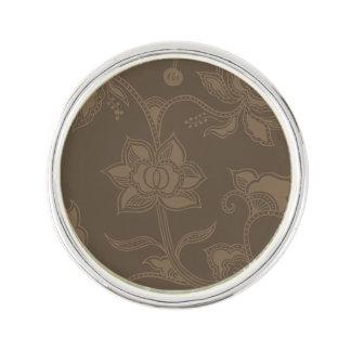 魅力的なヴィンテージの花のエレガントなコーヒーブラウン ラペルピン