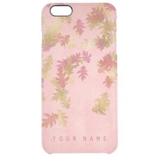 魅力的な名前入りな珊瑚のピンクの金葉 クリア iPhone 6 PLUSケース