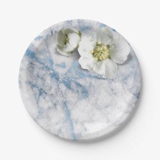 魅力的な大理石のサファイアの青く白いジャスミンのグリッター ペーパープレート