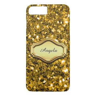 魅力的な模倣された金ゴールドのきらめくグリッターの場合 iPhone 8 PLUS/7 PLUSケース
