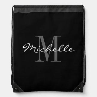 魅力的な白黒モノグラムのドローストリングバッグ ナップサック