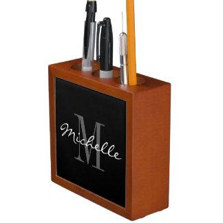 魅力的な白黒モノグラムの机のオルガナイザー ペンスタンド