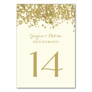 魅力的な結婚式のテーブルの第|シックで模造のな金ゴールドホイル カード