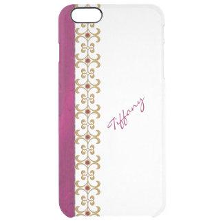 魅力的な蘭および金ゴールドの宝石はiPhone 6のプラスの場合を見ます クリア iPhone 6 Plusケース