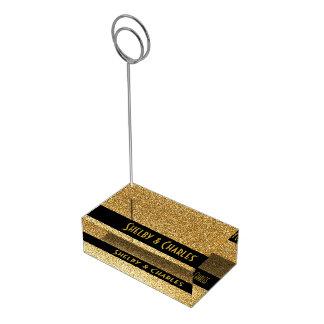 魅力的な金ゴールドのグリッターのカスタムのテーブルカードホルダー テーブルカードホルダー