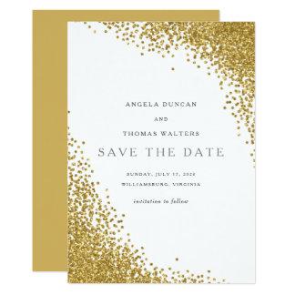 魅力的な金ゴールドの紙吹雪の点は日付カードを救います カード