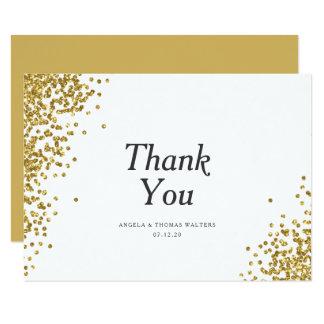 魅力的な金ゴールドの紙吹雪は結婚式のサンキューカードに点を打ちます カード