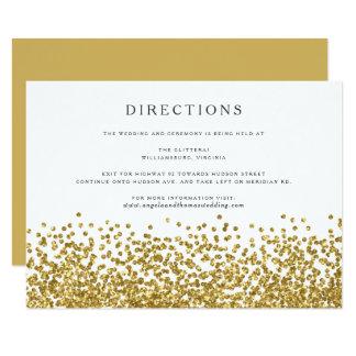 魅力的な金ゴールドの紙吹雪は結婚式の方向カードに点を打ちます カード