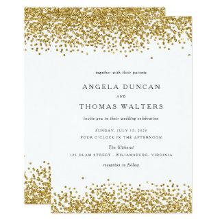 魅力的な金ゴールドの紙吹雪は結婚式招待状に点を打ちます カード