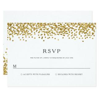 魅力的な金ゴールドの紙吹雪はRSVPカードを結婚することに点を打ちます カード
