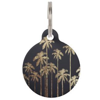 魅力的な金ゴールドの黒の熱帯ヤシの木 ペット ネームタグ