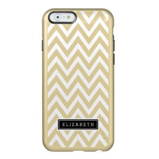 魅力的な金属金ゴールドおよびシェブロンの白いモノグラム INCIPIO FEATHER SHINE iPhone 6ケース
