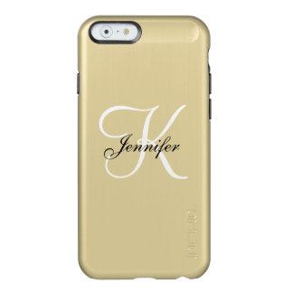 魅力的な金属金ゴールドおよび白黒のモノグラムの名前 INCIPIO FEATHER SHINE iPhone 6ケース