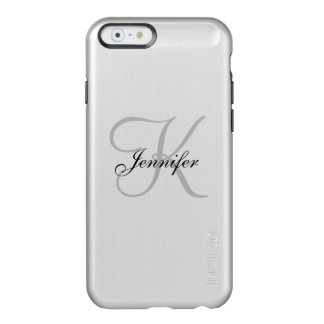魅力的な金属銀および黒いモノグラムの名前 INCIPIO FEATHER SHINE iPhone 6ケース
