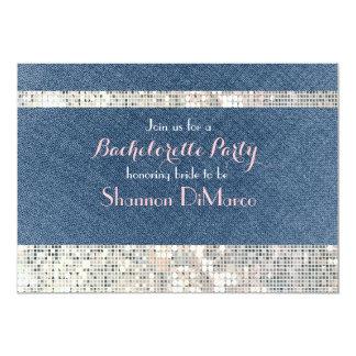 魅力的な魅力のデニムのスパンコールの輝きのパーティの招待状 カード