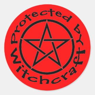 魔力の星形五角形のステッカーのラベルによって保護される ラウンドシール