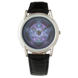 魔力の青い火の五芒星 腕時計