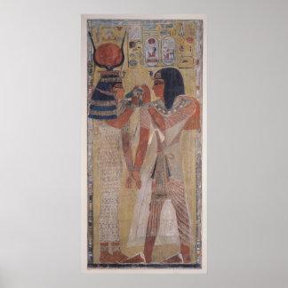 魔法つばを置いている女神Hathor ポスター