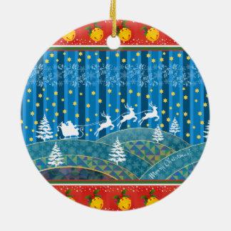 魔法のクリスマスの背景 セラミックオーナメント