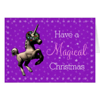 """""""魔法のクリスマス""""のユニコーンのメッセージカード(紫色) カード"""