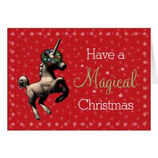 """""""魔法のクリスマス""""のユニコーンのメッセージカード(赤い) カード"""