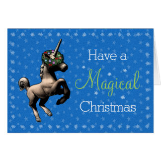 """""""魔法のクリスマス""""のユニコーンのメッセージカード(青い) カード"""
