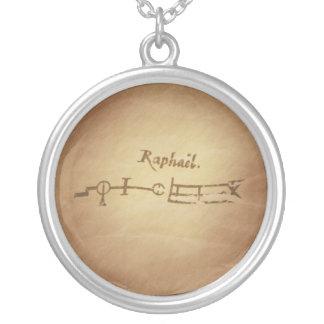 魔法のシールの天使Raphaelの保護魔法のチャーム シルバープレートネックレス