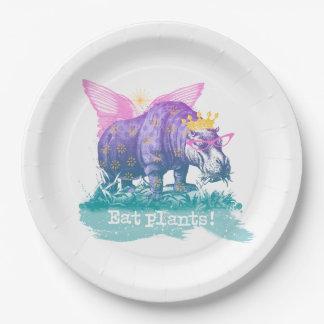 魔法のビーガンの草食動物のカバ 紙皿 大