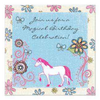 魔法のファンタジーのユニコーンの女の子の誕生日の招待状 13.3 スクエアインビテーションカード
