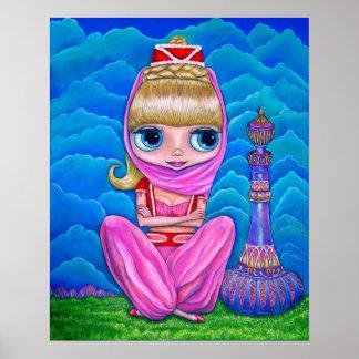 魔法のボトルを持つ大きい目の魔神の人形のベリーダンサー ポスター