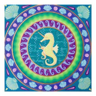 魔法のユニコーンのタツノオトシゴの曼荼羅 フォトプリント
