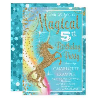 魔法のユニコーンのバースデーパーティ招待状 カード