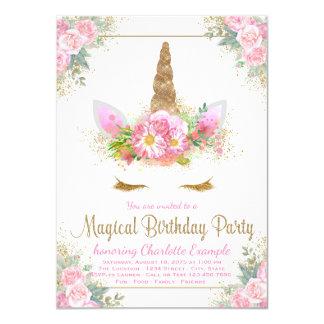 魔法のユニコーンの女の子のバースデーパーティ招待状 カード